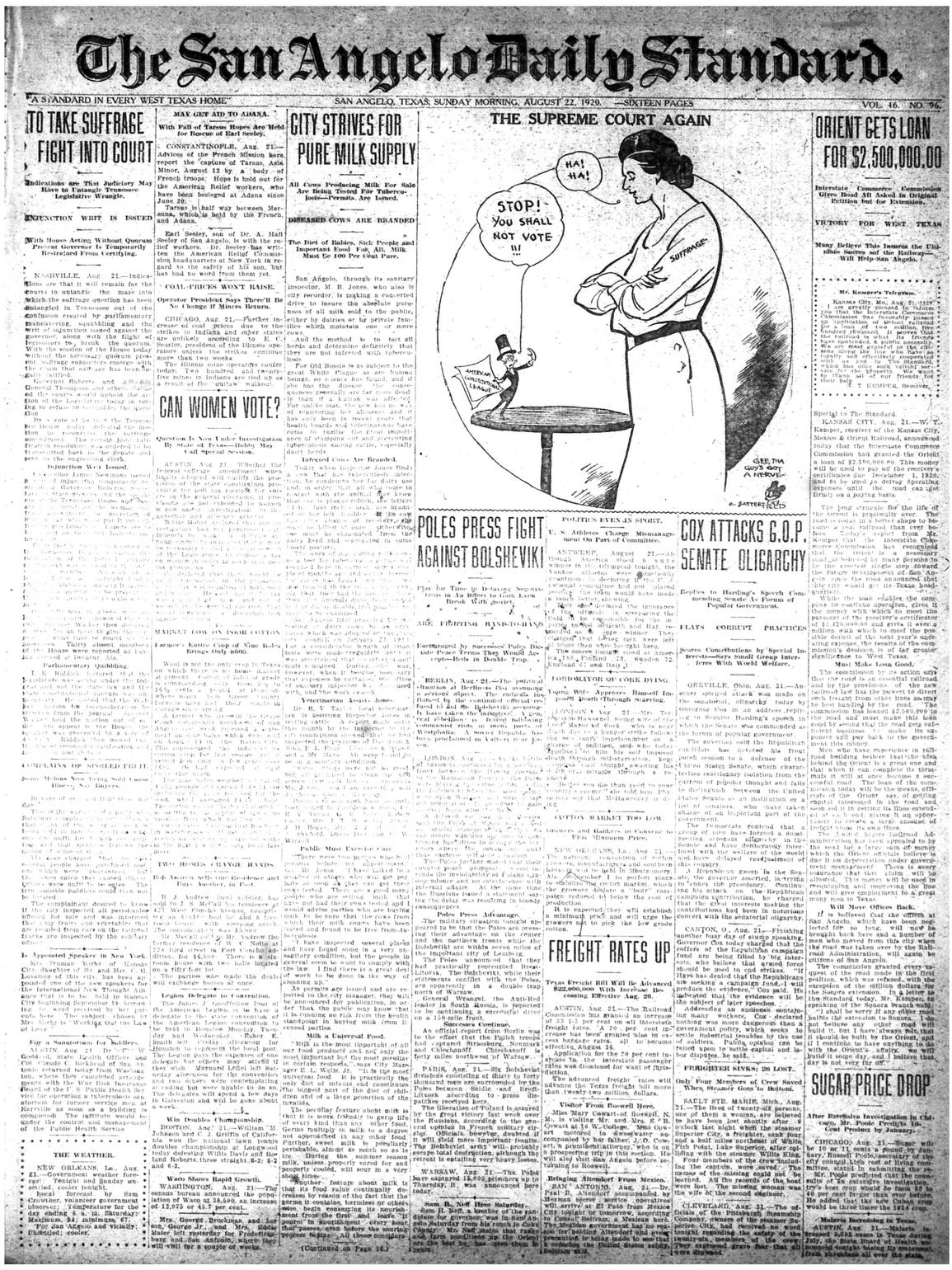 Front page Aug. 22, 1920.