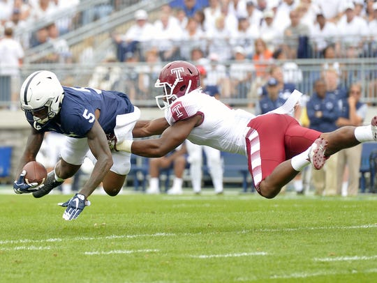 DaeSean Hamilton (5) and QB Trace McSorley have endured