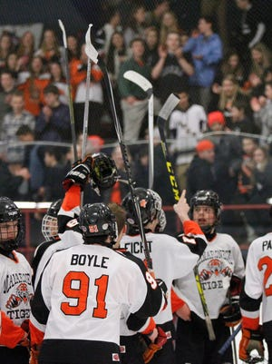 Mamaroneck defeats Massena  5-1 in the division 1 regional finals at Sport-O-Rama Ice Rink in Monsey on Saturday, March 05, 2016.