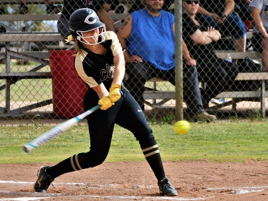 Clyde's Kaelyn Miller takes a cut at a pitch during a 10-0 win at Colorado City on Friday, April 13, 2018.