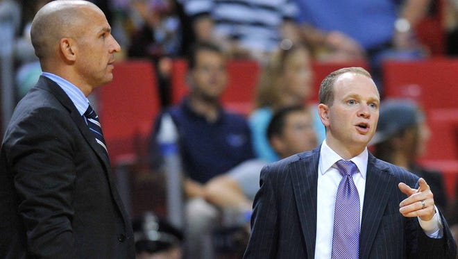 Brooklyn Nets head coach Jason Kidd (left) re-assigned assistant Lawrence Frank on Tuesday.