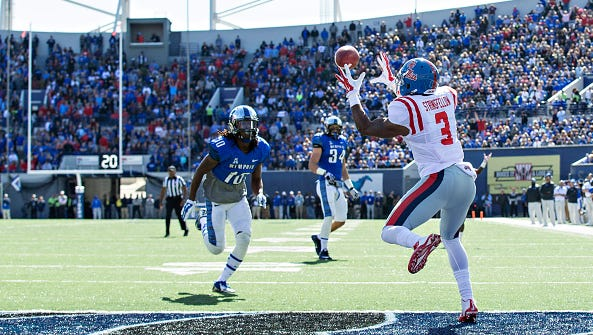 Wide receiver Damore'ea Stringfellow (3) catches a touchdown last season against Memphis. He's in position to lead Ole Miss in receptions this season.