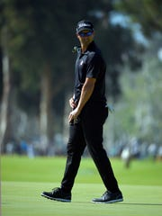 Adam Scott misses a putt on the eighth green in the third round of the Northern Trust Open golf tournament Saturday