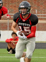 Wichita Falls High School's Matt Terry catches a pass during spring practice May 1.
