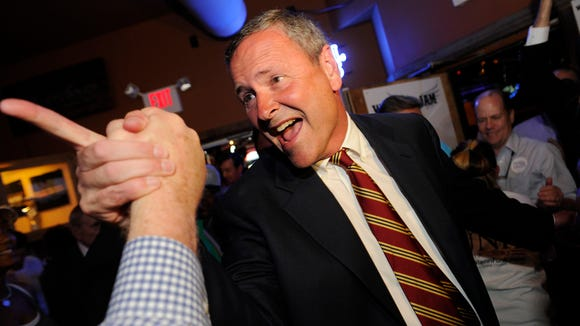 Glenn Funk celebrates with supporters after winning the Davidson County District Attorney General's race.
