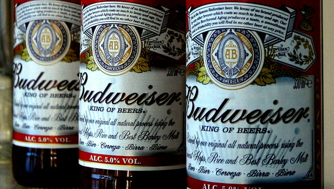 Budweiser bottles at Stag Brewery in London.