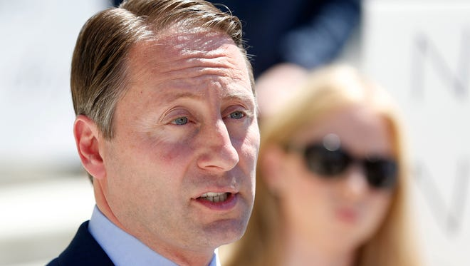 """New York Republican candidate for governor Rob Astorino speaks during a news conference Monday, June 16, 2014, in Albany, N.Y. On Monday, July 21, 2014, New Jersey Gov. Chris Christie, who is head of the Republican Governors Association, said """"We don't invest in lost causes,"""" when asked about whether the association will help Astorino in his race against New York Gov. Andrew Cuomo."""