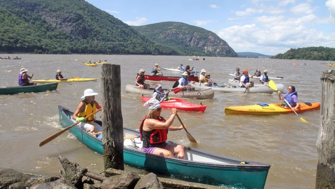 Kayakers and canoeists on the Hudson River pulled in to Dockside Park in Cold Spring last August as they marked the 400th anniversary of a treaty with the Dutch.