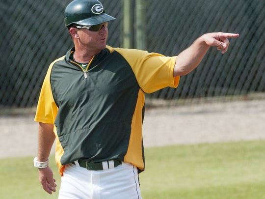 Edgewood coach Bobby Carr coaches against Northside Methodist in the AISA state championship series at Paterson Field in Montgomery, Ala., on Tuesday May 10, 2016.