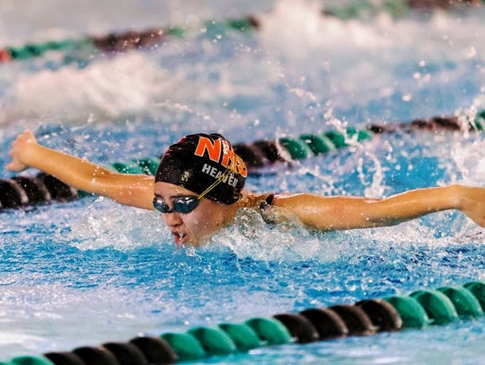 Northville's Lauren Heaven captured the 100-yard butterfly