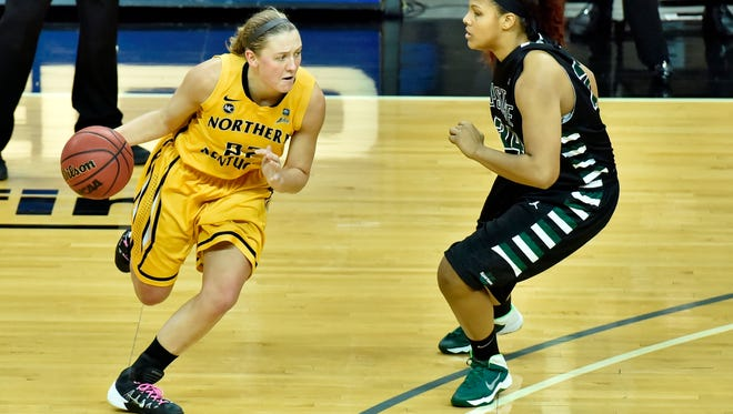 Northern Kentucky University's Kelley Wiegman drives during a January game against USC Upstate.