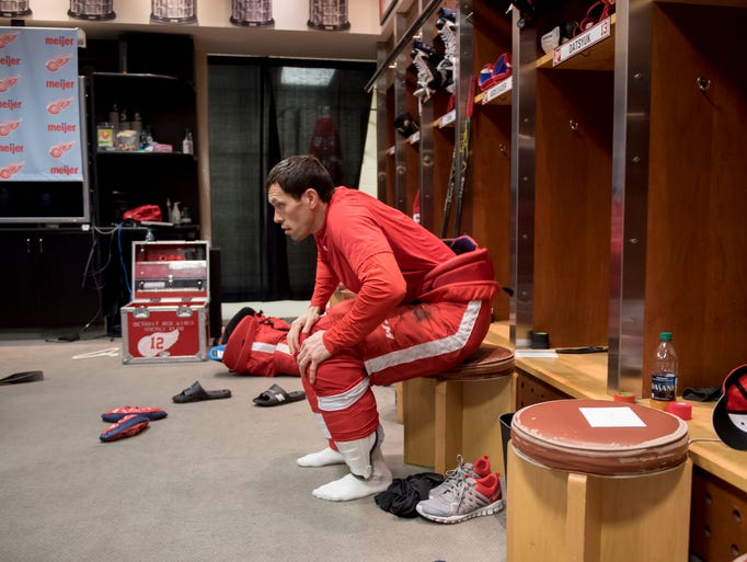Detroit Red Wings center Pavel Datsyuk sits in his