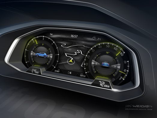 The instrument panel in Volkswagen's T-Roc concept