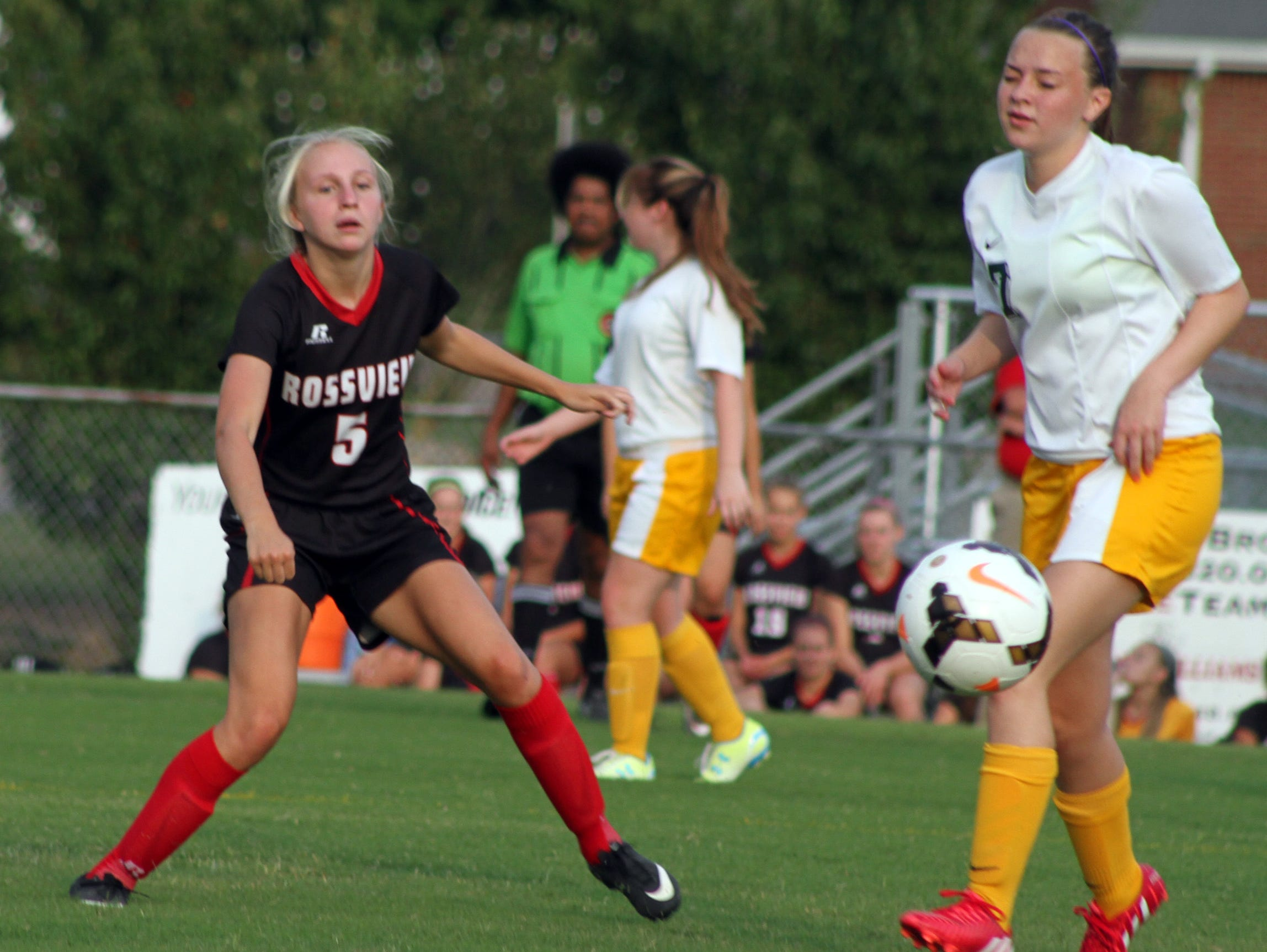 Rossview's Melanie Stevens (5) turned in a strong performance Tuesday, scoring three goals against Northwest and leading the Lady Hawks to a 7-1 victory Tuesday night.