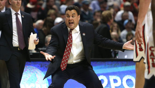 Arizona head coach Sean Miller looks for an explanation from his players during the first half of the Arizona vs. San Diego State game at the NCAA Basketball Tournament at the Honda Center in Anaheim on Thursday, March 27, 2014.
