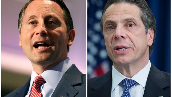 Republican Westchester County Executive Rob Astorino, left, will challenge the Democratic incumbent Gov. Andrew Cuomo for the New York governorship in November. Cuomo was expected to cruise to victory in the recent Democratic primary but instead faced a stiff challenge from Fordham Law School professor Zephyr Teachout.