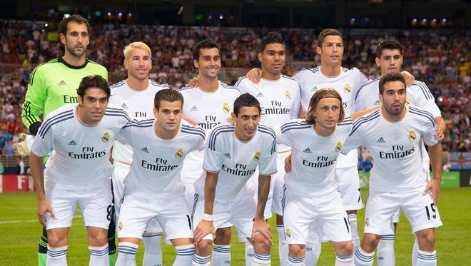 Real Madrid poses for a photo before a match against Inter Milan.