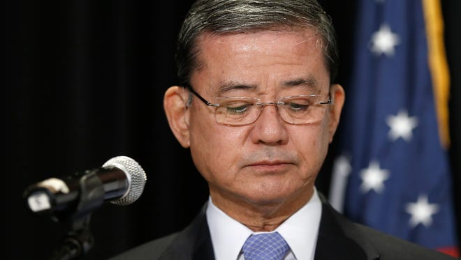 Eric Shinseki addresses the National Coalition for Homeless Veterans on May 30, 2014, in Washington.