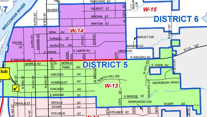 Wausau's City Council District 5 is on the east side between Bridge Street and Parcher Street, outlined in blue here.