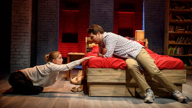 "Anna Chlumsky and Adam Pally in ""Cardinal"" at the Second Stage Theater."