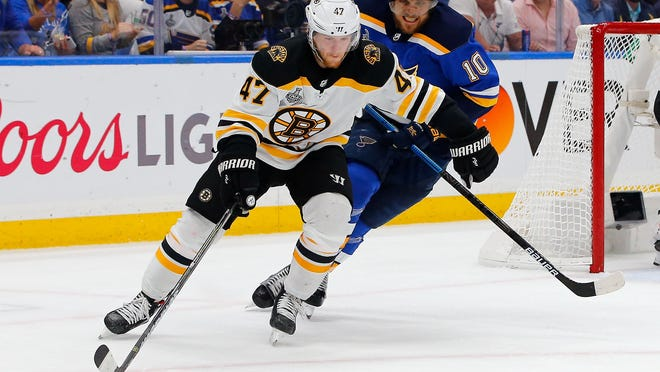 Former Bruins defenseman Torey Krug (front), shown skating with the puck in front of St. Louis Blues center Brayden Schenn during the first period of game four of the 2019 Stanley Cup Final in St. Louis, signed a seven-year contract with the Blues on Friday.