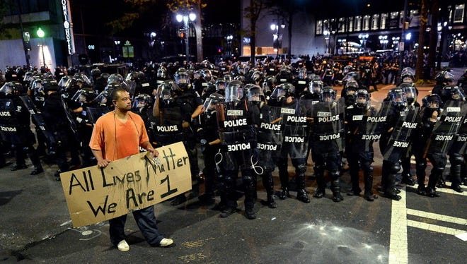 A protester in Charlotte, on Sept. 21.