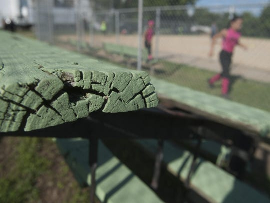 A view of the dilapidated bleachers at Samalica Ortiz Softball Field Park in North Camden. 08.13.15