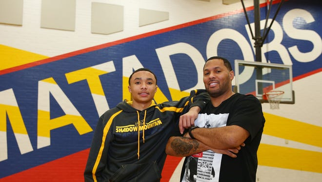 Shadow Mountain High boys basketball player Jaelen House and his dad, Eddie House, who is among ASU's all-time best basketball players on Jan. 10, 2017 at Shadow Mountain High School in Phoenix.