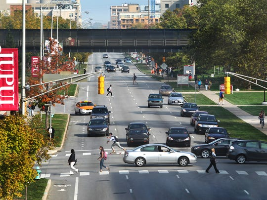 This is a view looking east on the one-way Michigan Street on the IUPUI campus. The city and university plan to convert Michigan and New York into two-way streets through campus.