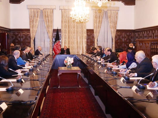 U.S. Rep. Beto O'Rourke, D-El Paso, was part of a delegation from the U.S. House Armed Services Committee that met with Afghan President Mohammad Ashraf Ghani over the weekend. The delegation is seen here at the presidential palace in Afghanistan.