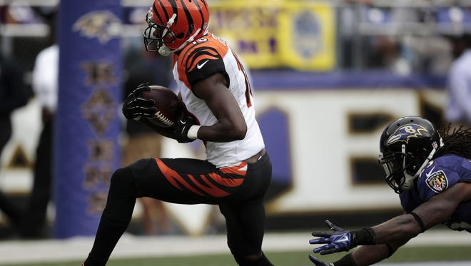 Bengals receiver A.J. Green gallops toward the end zone in the fourth quarter on his longest touchdown reception of the game.