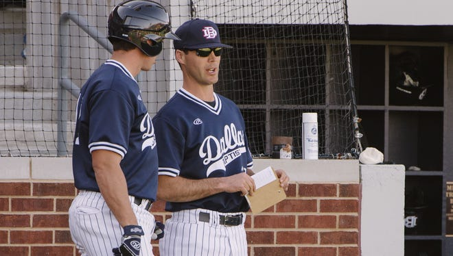 Dallas Baptist coach Dan Heefner, right, is an Iowa City High graduate and is leading his program into the NCAA regionals for the fifth time in eight years. This is the first year DBU has hosted a regional.