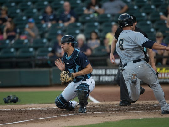 Then-San Antonio Missions player Ty France scores during the fourth inning of the game against the Hooks at Whataburger Field in Corpus Christi on Tuesday, May 15, 2018.
