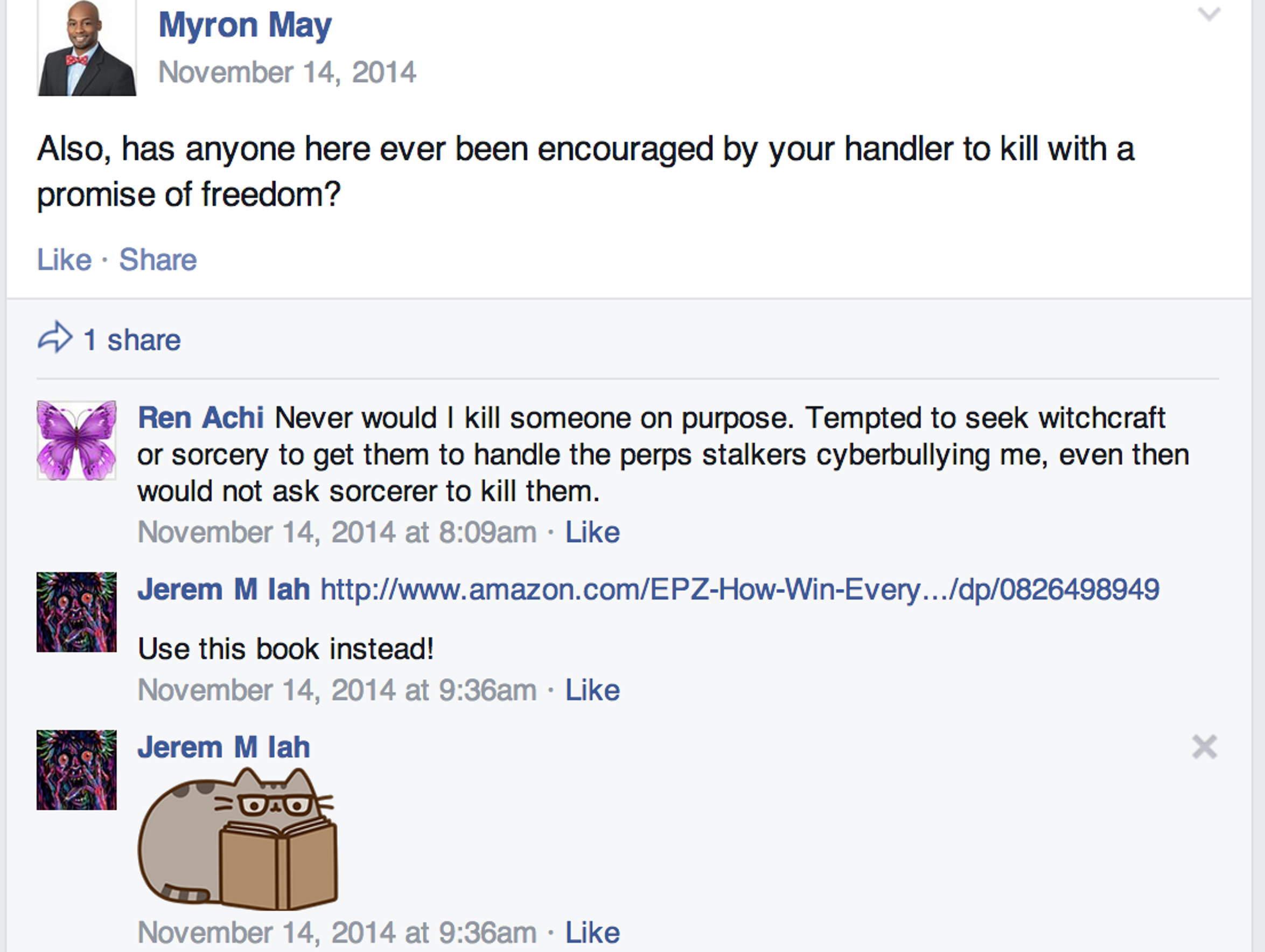 Myron May posted this message on Nov. 14 on the Targeted