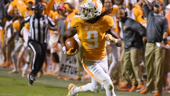 Tennessee punt returner Marquez Callaway scores the Vols' final touchdown against Tennessee Tech on Nov. 5, 2016, at Neyland Stadium.