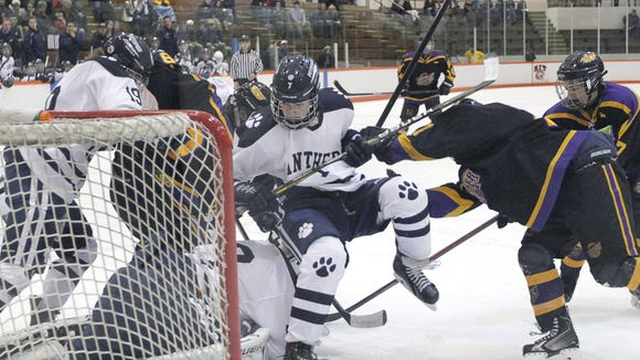 Pittsford hockey's Bobby Doyle during a game against the Greece Thunder earlier during the 2014-15 season.
