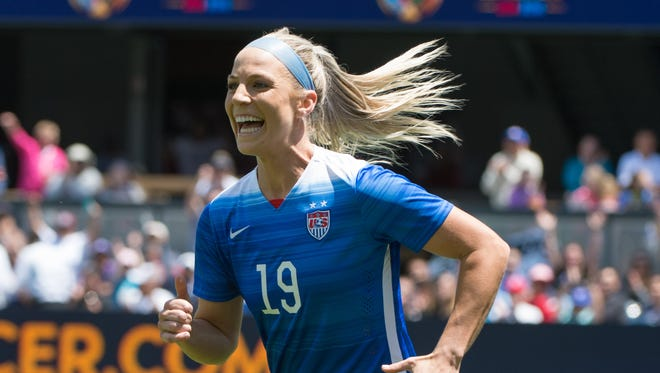 USA defender Julie Johnston (19) celebrates after scoring a goal during the second half against Ireland at Avaya Stadium on May 10, 2015. USA defeated Ireland 3-0.