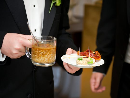 Megan Kennedy and Steve Dickson included family favorites on their wedding reception's food and bar menus.