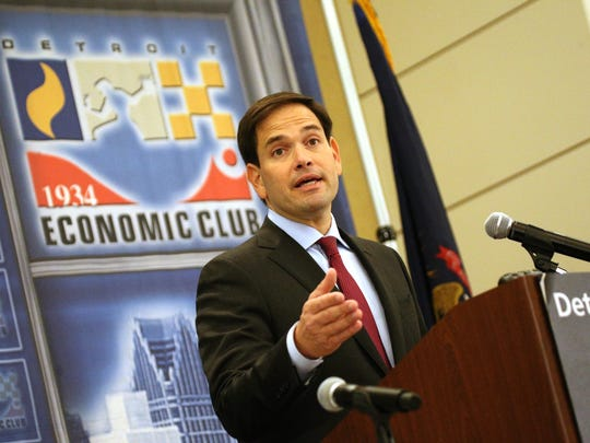 United States Presidential Candidate Marco Rubio speaks at the Detroit Economic Club luncheon at the Westin Book Cadillac in Detroit on Thursday, Aug. 20, 2015.