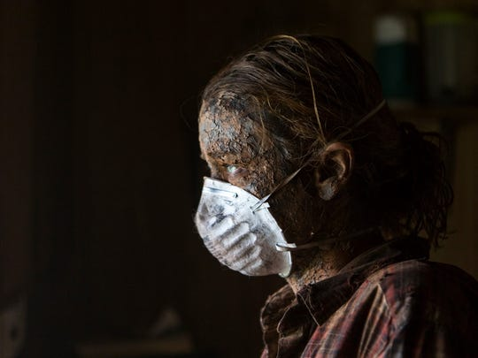 """Lucy Walters plays lead character Ann, shown here in special makeup, in """"Here Alone,"""" an independent film being shot locally."""