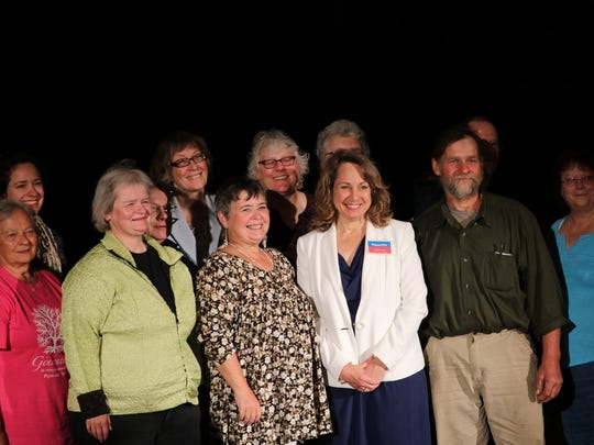 Nanette Bulebosh, of Elkhart Lake, poses with supporters following the announcement of her candidacy for the 27th District State Assembly seat in the Wisconsin Legislature on June 13.