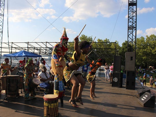The African Drum and Dance Ensemble at the South Jersey Caribbean Festival.