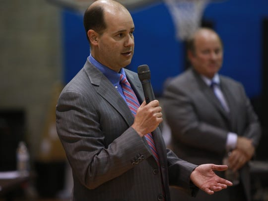 Matthew Moroun speaks during a community meeting at