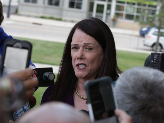 Kathleen Zellner, the attorney representing Steven Avery, speaks with the media in August at the Manitowoc County Courthouse.
