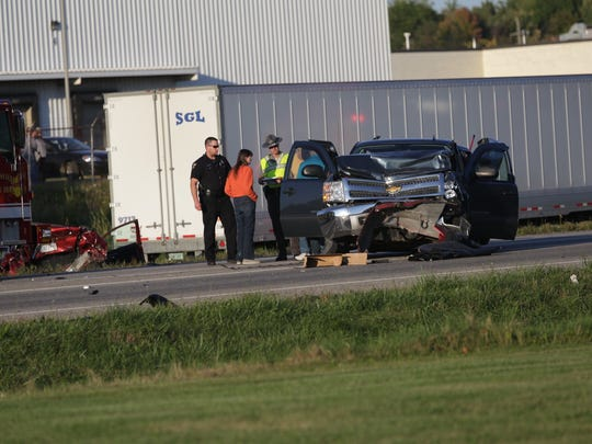 Safety forces work at a mutliple-vehicle crash Tuesday