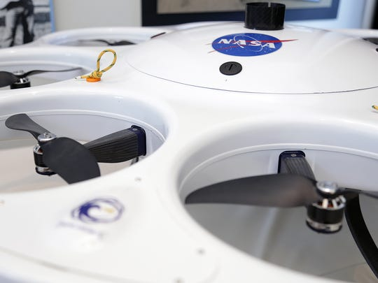 A NASA drone is on display at Reno-Stead Airport on