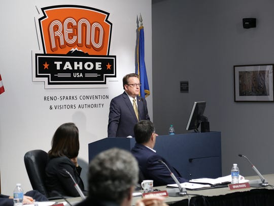Philip DeLone speaks in front of the Reno-Sparks Convention and Visitors Authority board, Nov. 3, 2016.