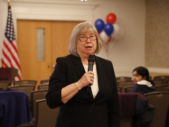 Barbara Lifton speaks to supporters in Ithaca after