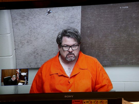 Jason Brian Dalton,45, of Cooper Township at his arraignment at the Kalamazoo County Courthouse in the courtroom of Judge Christopher T. Haenicke on Monday Feb. 22, 2016.