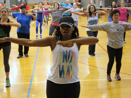 Angela Lester kept her 20-minute Zumba class fresh, challenging and fun for participants of the annual Aerobathon on Jan. 7 at Bartlett Recreation Center.